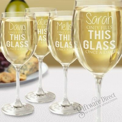 Set of 4 Personalised Wine Glasses Birthday Gift Present Mothers Day Engraved