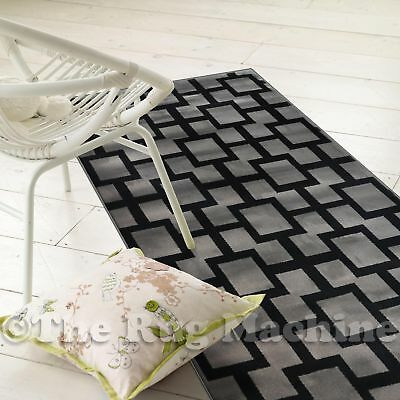 ASHER GREY BLACK LATTICE GRID MODERN DESIGN FLOOR RUG RUNNER 70cm **ANY LENGTH**