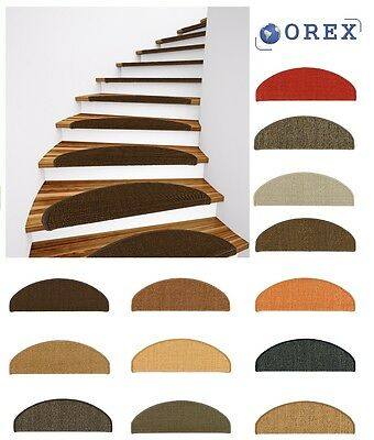 Sisal Stair Tread Mat Stair Cover Natural Fibre Staircase var. colours 22x56cm