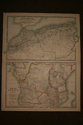 1899 Large Antique Hand Coloured Map ~ North West Africa & Central Marocco Tunis