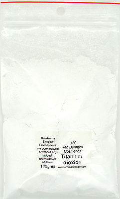 Titanium Dioxide natural whitener used in soap, mineral makeup and lipsticks