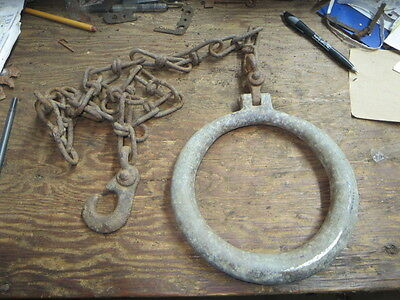 "Large 8"" aluminum pull ring with chain, antique, steampunk"