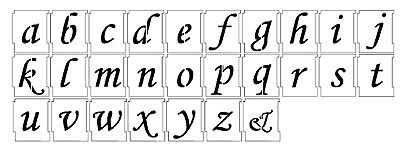 ALPHABET STENCILS AIRBRUSH LOWERCASE TEMPLATES 25mm 1'' Monotype Corsiva a-z