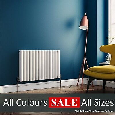 SimpleHome™ Horizontal Modern Designer Radiator Oval Column White Anthracite UK
