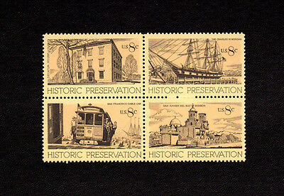 SCOTT # 1440-1443 Historic Preservation Issue U.S. Stamps MNH - Block of 4