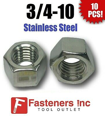 """(Qty 10) 3/4-10 Stainless Steel Finished Hex Nuts 304 / 18-8 3/4""""-10"""