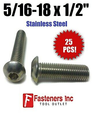 "(Qty 25) 5/16-18 x 1/2"" Button Head Socket Cap Screw Stainless Steel Screws UNC"
