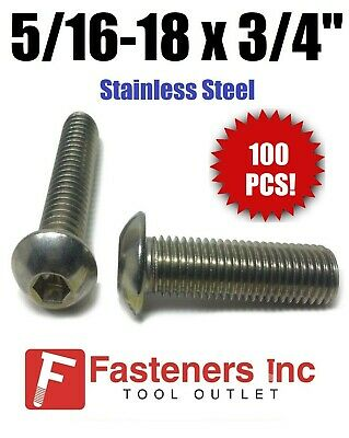 "(Qty 100) 5/16-18 x 3/4"" Button Head Socket Cap Screw Stainless Steel Screws UNC"