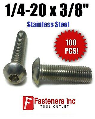 "(Qty 100) 1/4-20 x 3/8"" Button Head Socket Cap Screw Stainless Steel Screws UNC"