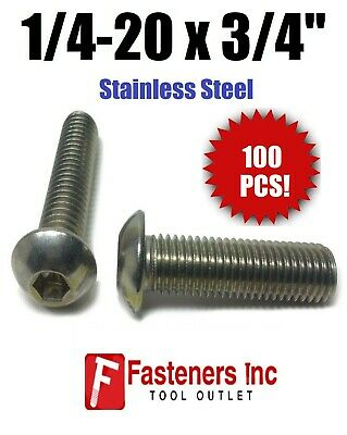 "(Qty 100) 1/4-20 x 3/4"" Button Head Socket Cap Screw Stainless Steel Screws UNC"