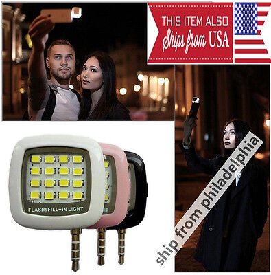 Portable Smartphone Mini Selfie 16LED Flash Fill Light For iPhone IOS Android WP