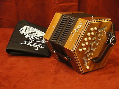 NEW Stagi C-2 Mahogony Anglo Concertina M 20, G-D, Made in Italy, Carrying Sack
