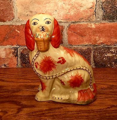 Staffordshire Red & White Spaniel Dog with Basket Porcelain Figurine, Right Side