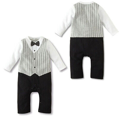 Baby Boys Wedding Formal Bow Tie Tuxedo Toddler Newborns Romper Jumpsuit Outfits