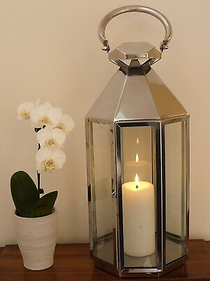Polished Stainless Steel Antique Style Garden Candle Lantern Very Large