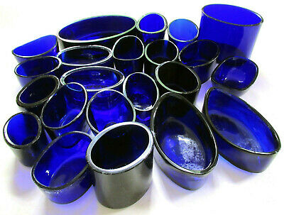OVAL Bristol Cobalt Blue Glass Liner fr Sterling Silver Salt/Mustard Pot/Inkwell