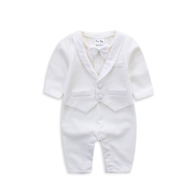 NEW Baby Boy Formal suit Christening Baptism Wear Bodysuit Rumper Newborn - 1