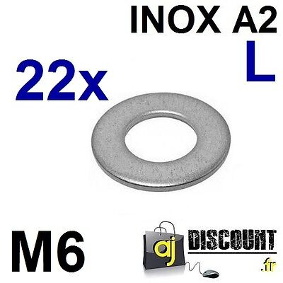 22x Rondelle plate - M6 - Large L - INOX A2