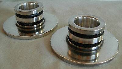 Pair Of Vintage Georg Jensen Sterling Silver Pyramid Candlesticks # 747 A