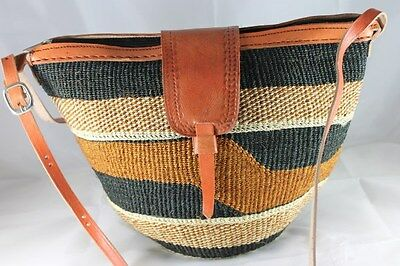 Gorgeous 100% Natural African Boabab Leather Kiondo Tote Handbags  FREE POSTAGE