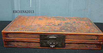 "12.8""Old China Antique Lacquerware Wood Phoenix Flower Painting Box Jewelry Box"