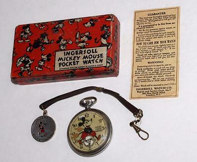English! Disney Mickey Mouse 1933 Ingersoll Pocket Watch-Complete Bxed Set-Works