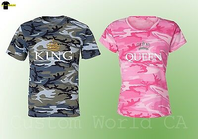 Couple T-Shirt Camouflage Shirts King & Queen Redneck Country Love Matching Tee