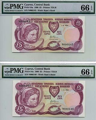 CYPRUS, P54a, 5 Pounds,1.101990, GEM UNC.PMG66-EPQ.- 2 consecutive # notes.