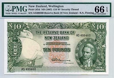 NEW ZEALAND, James Cook, P 161d, ND (1967), 10 Pounds, PMG 66 EPQ (GEM UNC)
