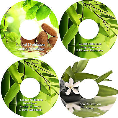 Guided Meditation Relief Of Anxiety & Stress Breathing Relaxation Zen on 4 CDs