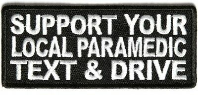Leather Biker Vest Patch SUPPORT YOUR LOCAL PARAMEDIC Sew/iron EMBROIDERED Men's