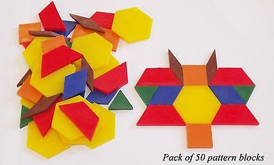 Teacher & Learning Resource Pattern Blocks - 50 Pieces (6 Shapes & 6 Colours)