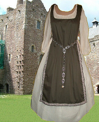Medieval SCA Garb Renaissance Gown Costume ChocolateTabard Cream Chemise 2pc LXL