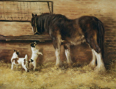Heavy Horse and terriers fine art print by Mick Cawston