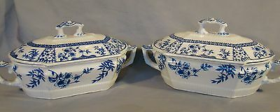 Pair of Antique Ridgways Litchfield Blue Transfer Covered Tureens c1888
