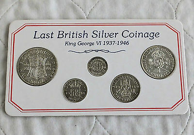 KING GEORGE VI LAST BRITISH SILVER COINAGE SET - all high grade