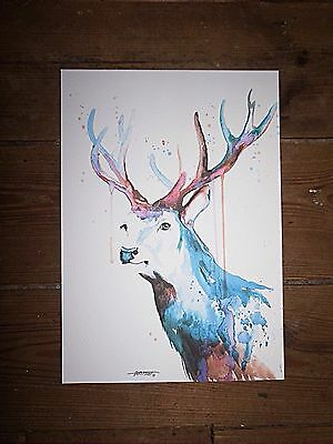 "Print Voleika Art "" Original Signed Watercolour Painting Large Abstract Stag New"