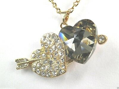 "N+0168, Double Heart Pendant ladies fashion, 46 Clear Rhinestones 27"" Necklace"