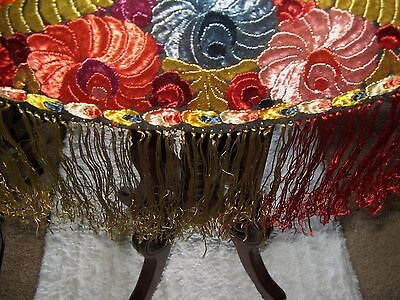 Stunning Antique Matyo Round Silk Embroidered Table Cover  With Long Fringe