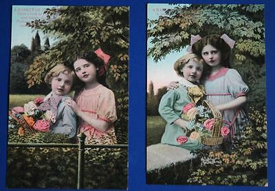 Rare Early 1900's Pair of Unused Postcards of A Young Girl & Young Boy