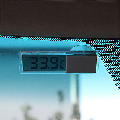 Auto Windshield LCD Transparent Digital Car Thermometer Suction Cup Windscreen