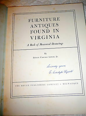 Virginia Furniture Measured Drawings, SIGNED by Ernest Carlyle Lynch, Jr . 1954