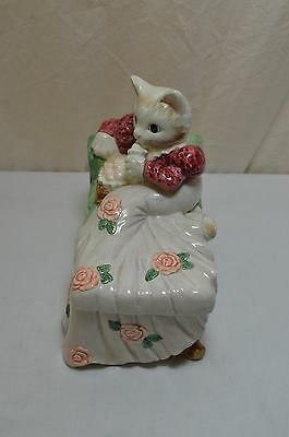 Fitz and Floyd Lounging Cat Trinket Box Knightbridge Collection 1998 900-4-4