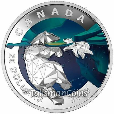 Canada 2016 Geometry in Art #2 Mother Polar Bear with Baby Cub $20 Silver Proof