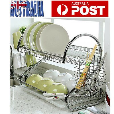 2 Layers Dish Drying Rack Drainer Cup Tray Utensil Dryer Organizer Stand AU