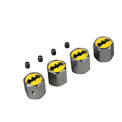 4x Car SUV Batman Logo Wheel Anti Theft Metal Tires Valve Stem Dust Modifiction