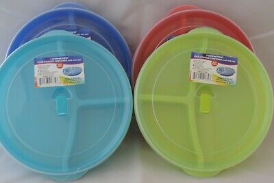 8 Divided Microwave Plate w/Vented Lids 3 Compartments Food Storage Freeze Eight