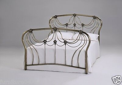 Antique Brass Solid Metal 4'6 Double Bed Frame  KATRINA