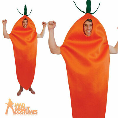 Adult Carrot Costume Mens Womens Food and Drink Fancy Dress Outfit New