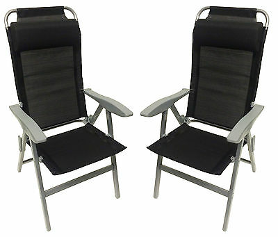 2 x ALUMINIUM FOLDING RECLINER CHAIRS for camping caravan garden motorhome